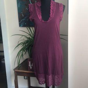 Free People Magenta lace trim mini dress